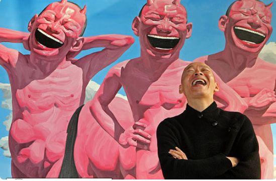 """岳敏军与他的""""大笑人""""画作"""