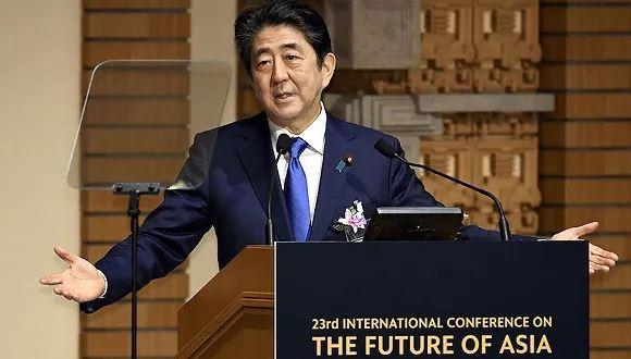 ▲2017年6月5日,日本东京,安倍晋三在论坛上发表讲话。图片来源:视觉中国