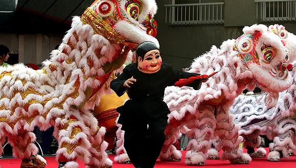 2017年1月29日,日本横滨,当地唐人街华人庆祝春节到来。图片来源:视觉中国