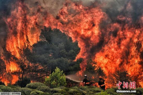 資料圖:希臘首都雅典附近森林火災。圖爲消防員試圖熄滅正在熊熊燃燒的山火。