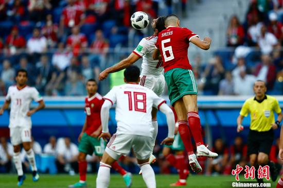 2018年俄罗斯世界杯B组首轮于6月15日晚在圣彼得堡体育场打响,摩洛哥对阵伊朗。中新社记者 富田 摄