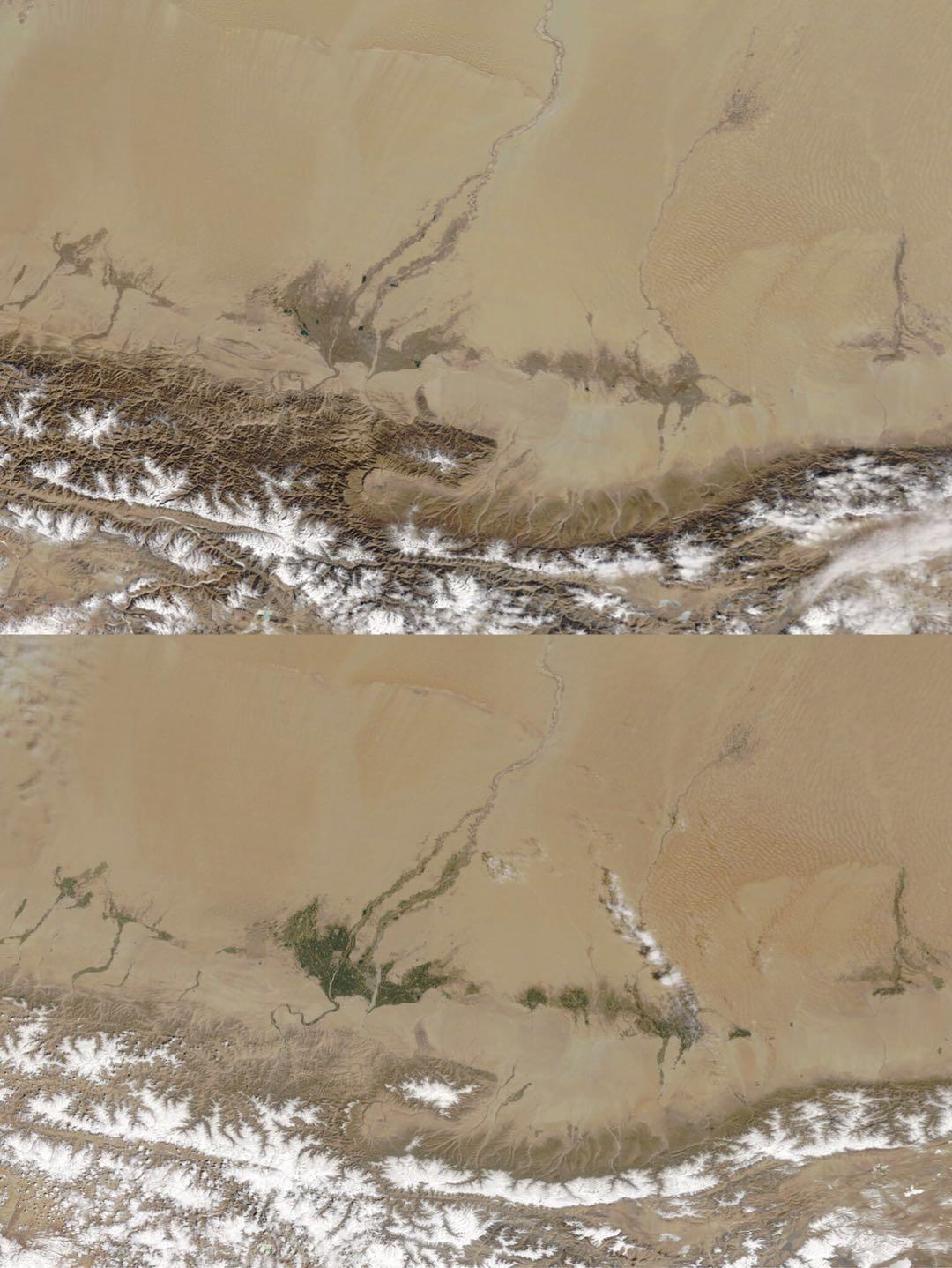 2020年2月23日(上)和2020年4月29日(下)塔克拉玛干沙漠局部