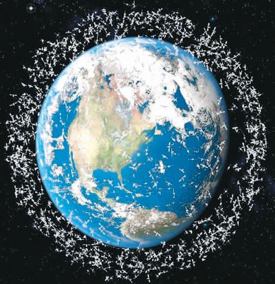 """地球被各类太空碎片""""围困""""示意图 图来自百度网"""