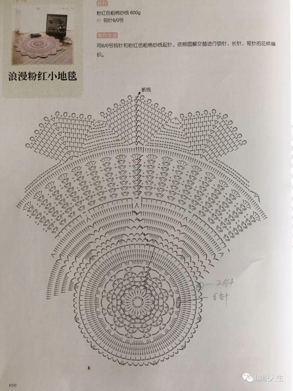 浪漫织女心:例外大毛衣改编钩针花型地毯(附图解)