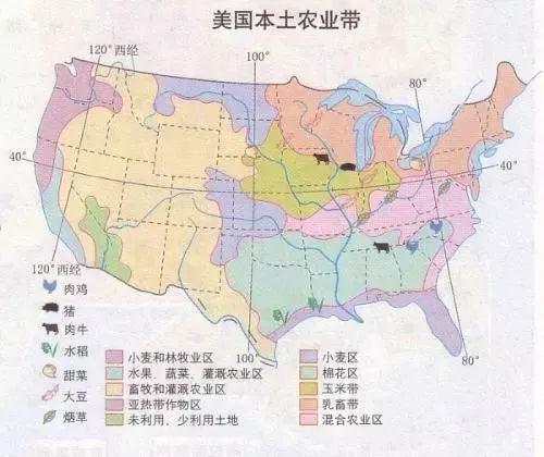 美国南部主要哹n_82%)产区在美国的纬度37度以南的南部大部份地区,包括东南,西南,南部.