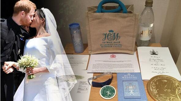婚礼礼品袋及其内装物品。(图片来自英国《每日快报》网站)