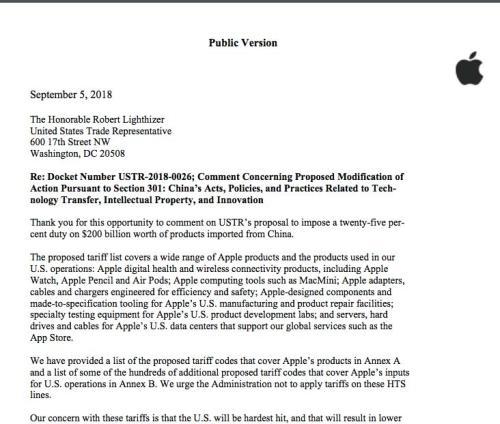 苹果公司9月5日的公开信