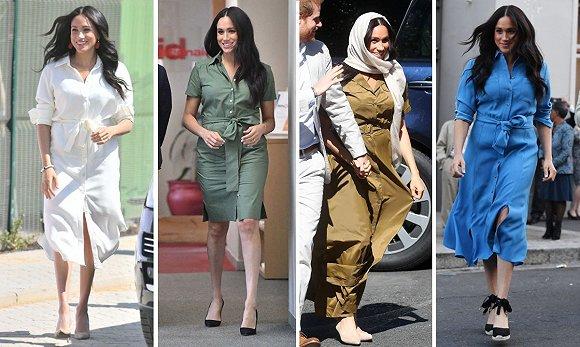 梅根王妃南非之行所穿的衬衫裙 图片来源:Vanity Fair