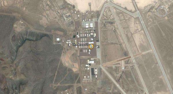图为美国51区军事基地卫星图片