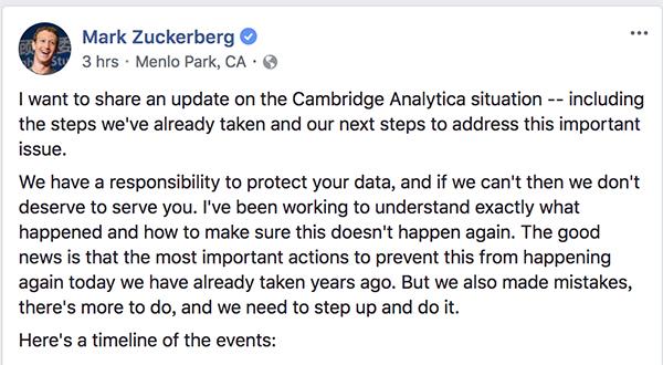 脸书5000万用户信息被泄露 扎克伯格发声明认错