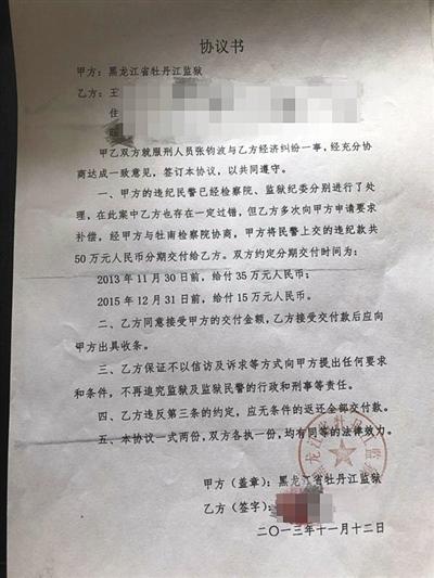 王楠和牡丹江监狱签订的协议书。
