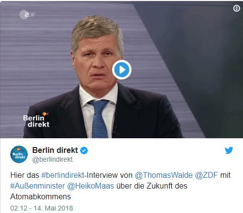 """(德国电视二台ZDF""""直击柏林""""节目推特截图)"""