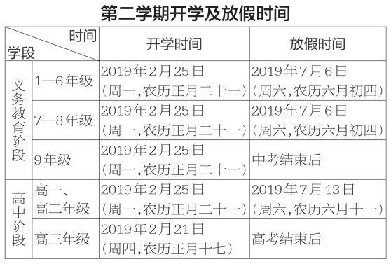 @全省中小学生,你们2018-2019学年度开学放