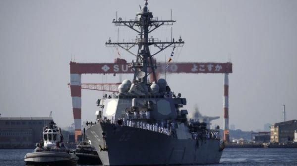 """""""米利厄斯""""号22日抵达日本,进驻横须贺海军基地。"""