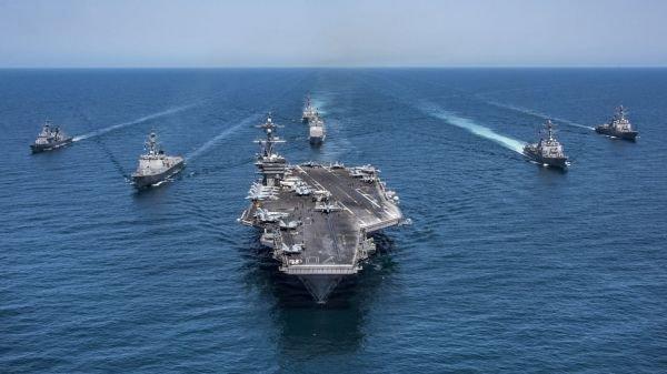 资料图片:美海军航母打击群。(图片来源于网络)