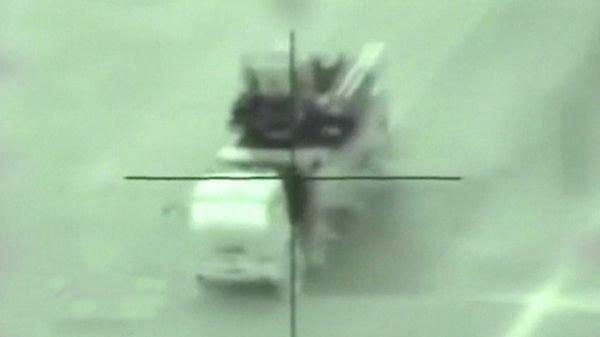 """资料图片:以色列公布的以军导弹即将命中叙军""""铠甲S1""""防空系统视频。(图片来源于网络)"""