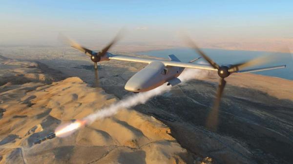 美展示V247倾转翼无人攻击机方案 设计类似V22
