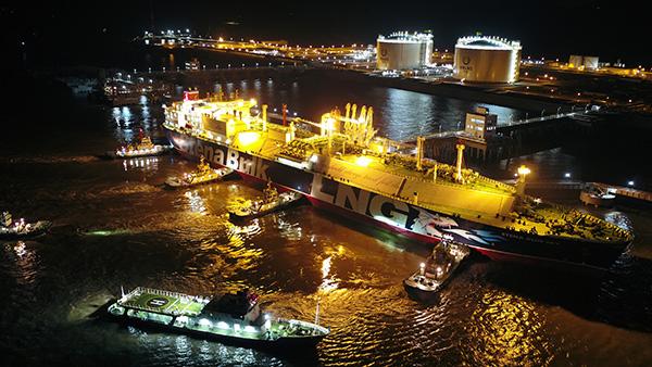 8月7日首艘LNG运输船停靠在新奥舟山LNG接收站码头