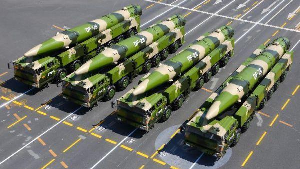 资料图片:中国东风-26弹道导弹。(图片来源于网络)
