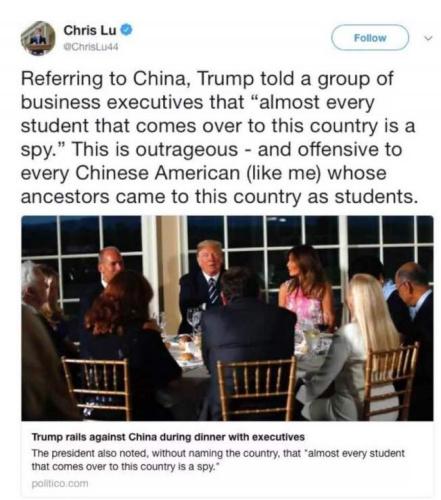 """特朗普""""留学生皆间谍论""""引争议 美国华人群起抗议"""