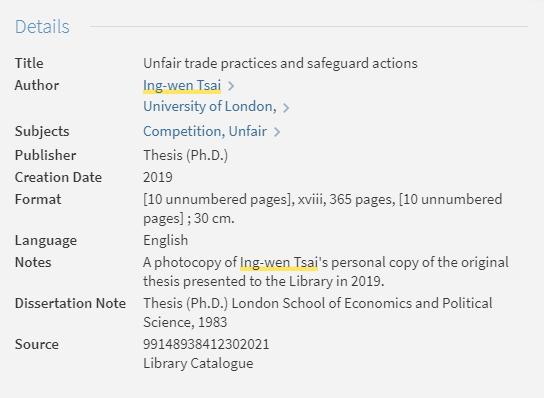 小编注:16日LSE官网更改,署名只有蔡英文一人,且可馆内查阅