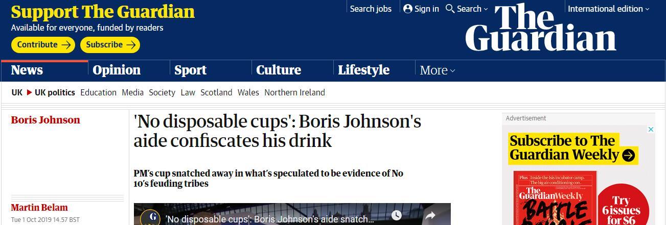 """刚到手的饮料被没收 约翰逊还被助手""""教育"""""""