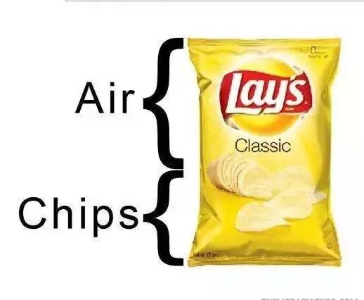 包装里薯片和空气的比例