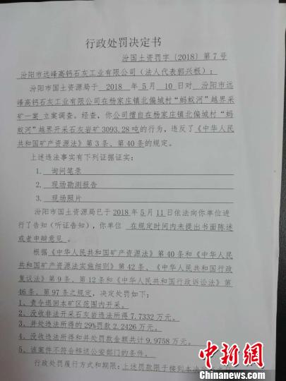 图为郑维忠提供的行政处罚决定书。 范丽芳 摄