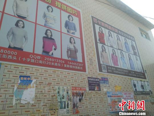 媒体报道中涉及的清河县东高庄村街道墙壁上满是羊绒电商广告。 王天译 摄