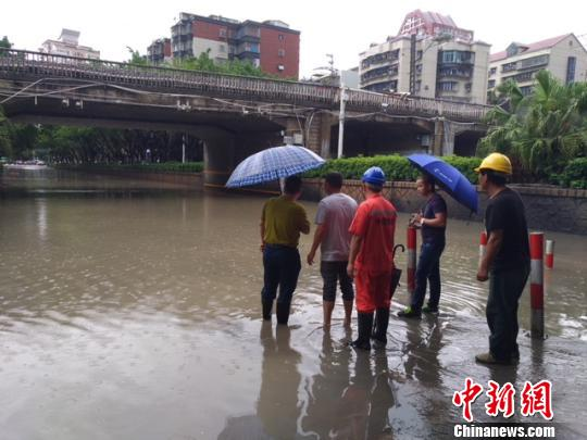 厦门多处交通干道因积水无法通行。 陈悦 摄