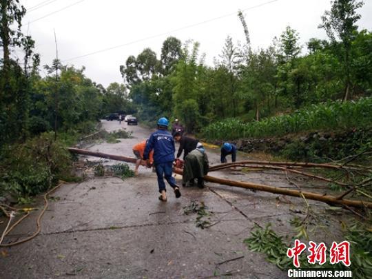 电力抢险人员正在排险恢复供电。 刘忠俊 摄