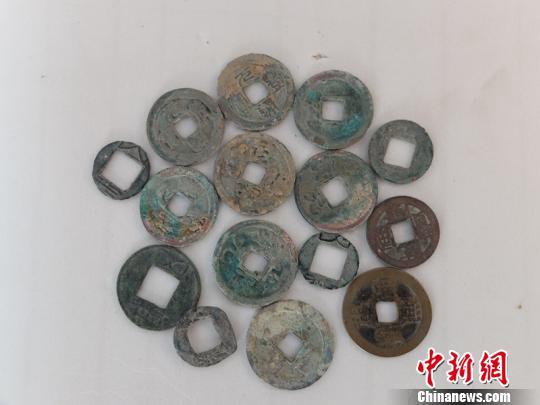 不同朝代的铜币十五枚 赵冰 摄