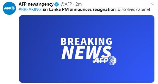 斯里兰卡总理宣布辞职 外媒:为新总统任命内阁铺路