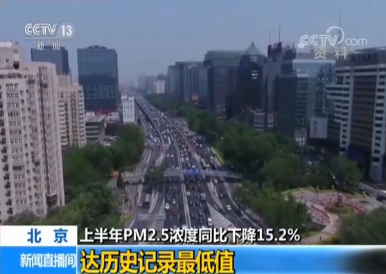 北京上半年PM2.5浓度同比下降 达历史记录最低值