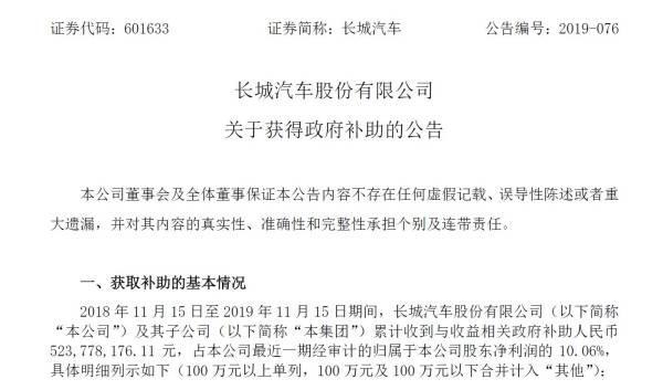 过去一年,长城汽车获得政府补助5.24亿元