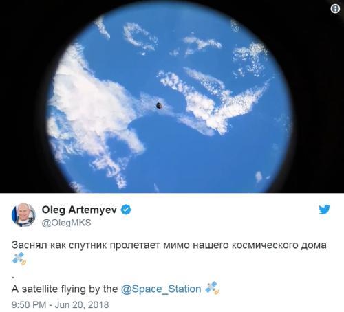 """俄罗斯宇航员在国际空间站拍摄到""""RemoveDebris""""的图片。(图片来源:社交网站截图)"""
