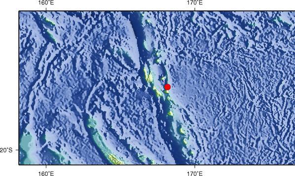 8月22日6时32分瓦努阿图群岛发生6.6级地震