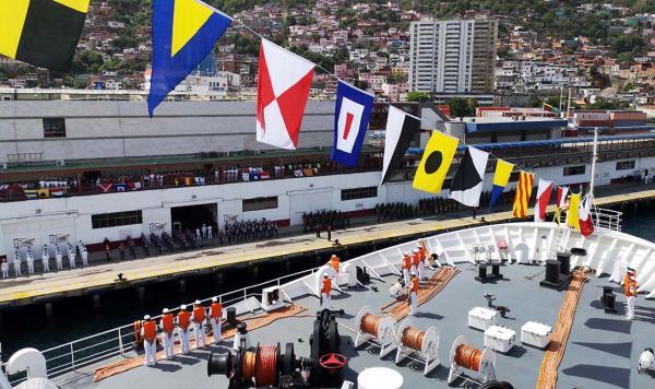 中国海军舰艇首访委内瑞拉 委军中国造战机护航(图)