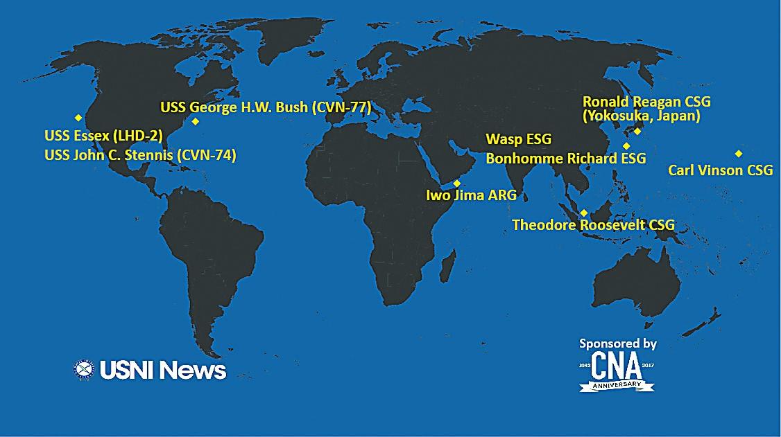 图片说明:美方公布的水面战舰分布图