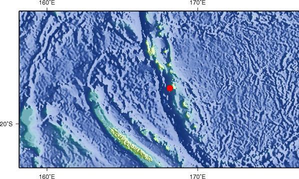 6月22日5时13分瓦努阿图群岛发生6.2级地震