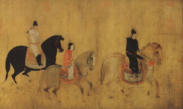有学者认为画面中第一匹马上、男装打扮的人为虢国夫人
