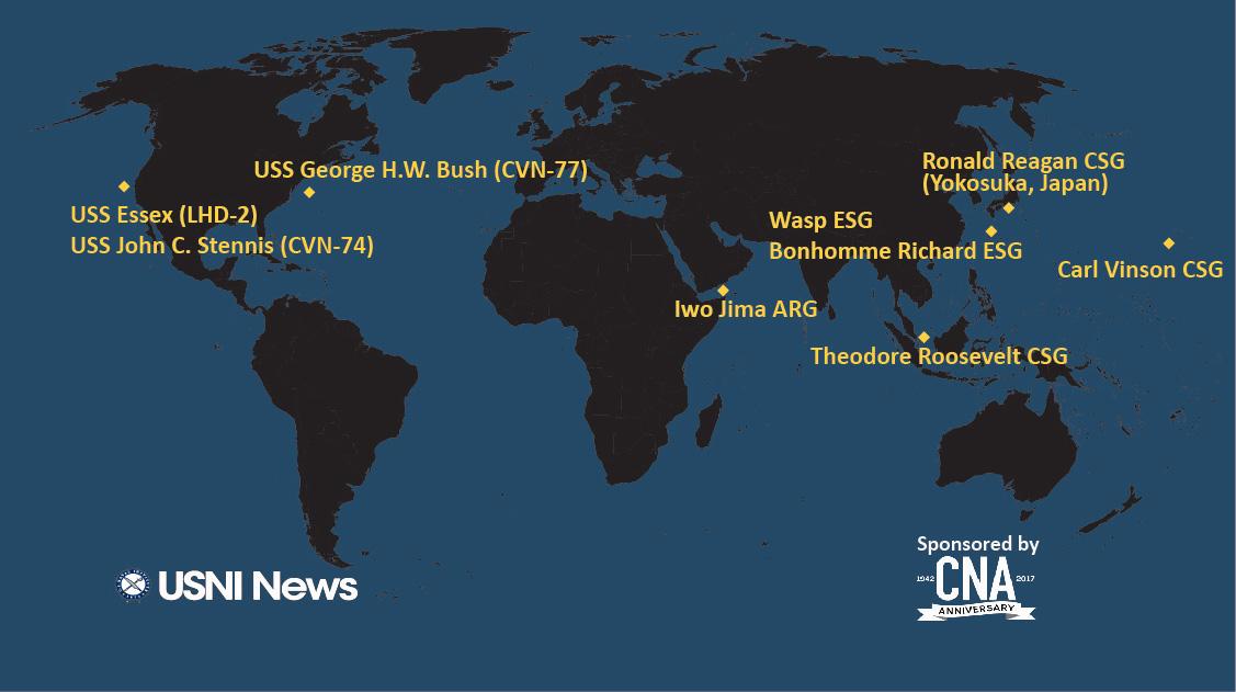 目前可知的美国航母所在的位置