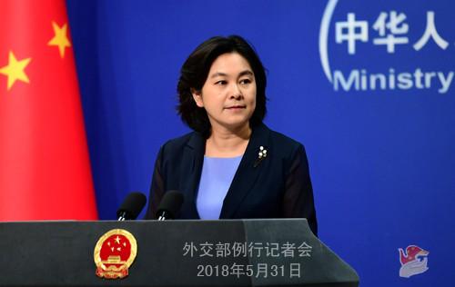 资料图片:2018年5月31日外交部发言人华春莹主持例行记者会。(外交部网站)