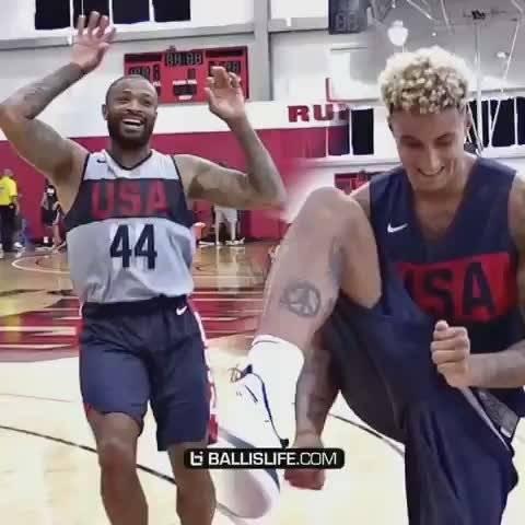 美国男篮训练营塔克、库兹马、大洛佩斯以及乔哈里斯底角三分大比拼