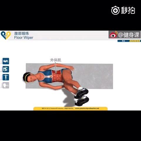 仰卧抬腿摆运动,主要锻炼腹直肌和腹外斜肌