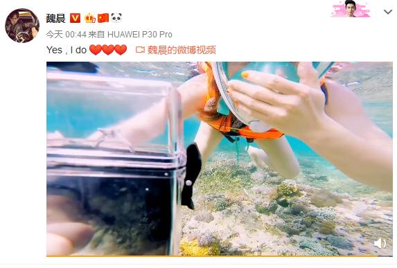 魏晨官宣!魏晨女友于玮生活照 魏晨水下求婚成功视频首曝光