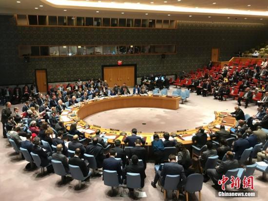 当地时间4月14日,联合国安理会举行紧急会议,讨论前一天美国、英国、法国对叙利亚实施军事打击问题。图为安理会会议现场。 中新社记者 马德林 摄