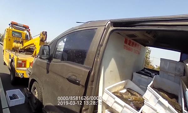 2019年3月12日,G15沈海高速亭林段,事故车辆和黑鱼得到处理。