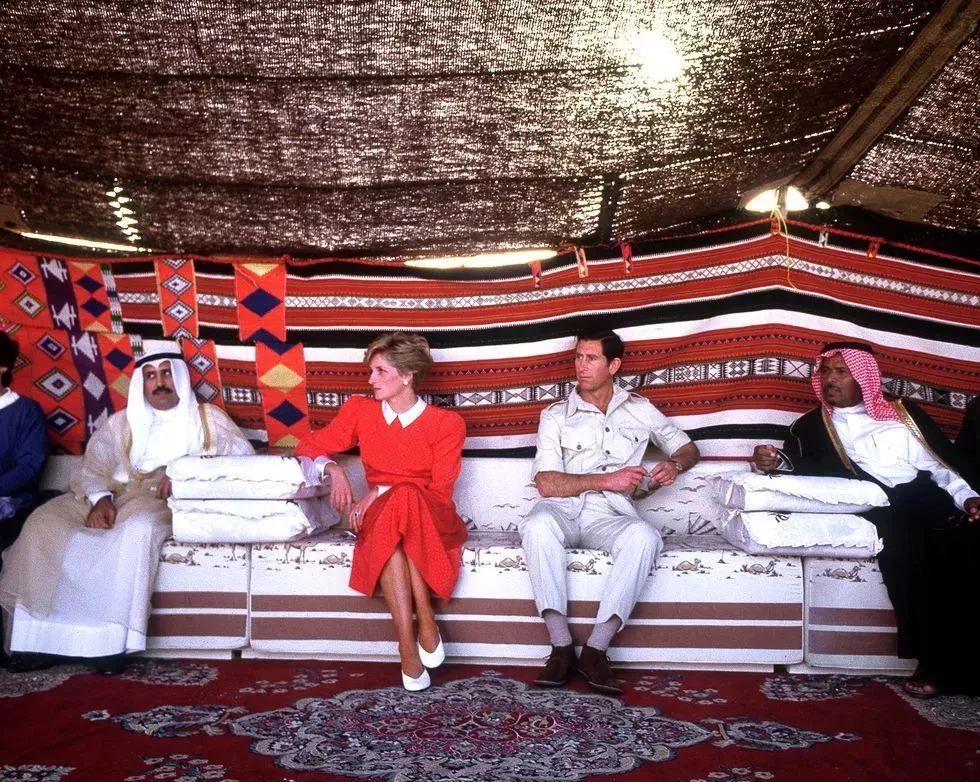 In the desert near Doha during an official visit to Qatar,1986