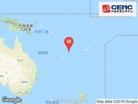 瓦努阿图群岛发生6.3级地震